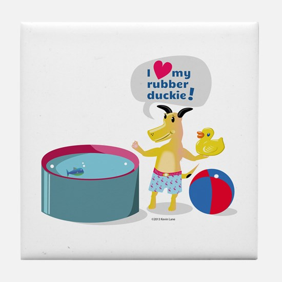 Dog Loves His Rubber Duckie Tile Coaster