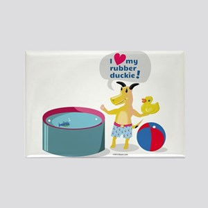 Dog Loves His Rubber Duckie Rectangle Magnet