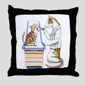 Doctor Cat Throw Pillow