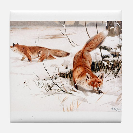 Red Fox in the Snow Tile Coaster