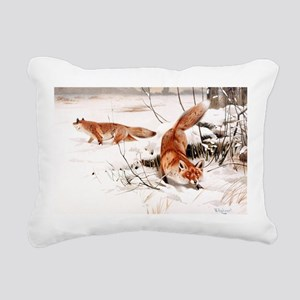 Red Fox in the Snow Rectangular Canvas Pillow