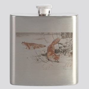 Red Fox in the Snow Flask