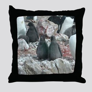 Adelie Penguin Chicks Throw Pillow