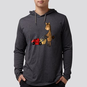 Funny Horse Mowing Lawn Mens Hooded Shirt