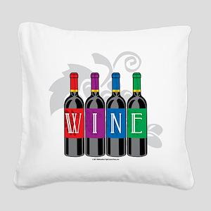 Wine-Bottles Square Canvas Pillow