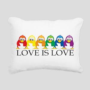 Love-Is-Love-Penguins Rectangular Canvas Pillo