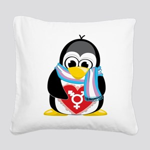 Transgender-Penguin-Scarf Square Canvas Pillow