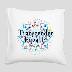 Transgender-Equality-Lotus Square Canvas Pillo