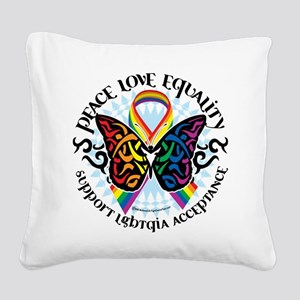 LGBTQIA-Butterfly-Tribal Square Canvas Pillow