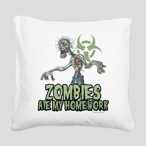 Zombies-Ate-Homework Square Canvas Pillow