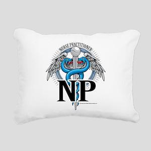 NP-Blue-Caduceus Rectangular Canvas Pillow
