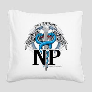 NP-Blue-Caduceus Square Canvas Pillow