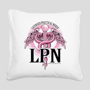 LPN-PINK-Caduceus Square Canvas Pillow