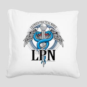 LPN-Caduceus-BLue Square Canvas Pillow