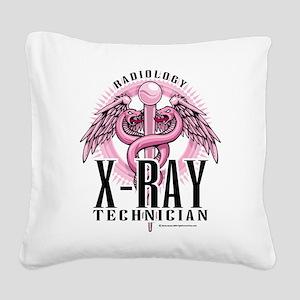 X-Ray-Tech-Pink-Caduceus Square Canvas Pillow