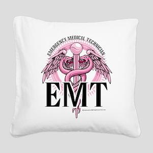 EMT-Pink-Caduceus Square Canvas Pillow