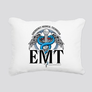 EMT-Caduceus-Blue Rectangular Canvas Pillow
