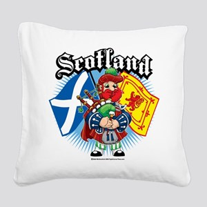Scotland-Flags-and-Piper Square Canvas Pillow