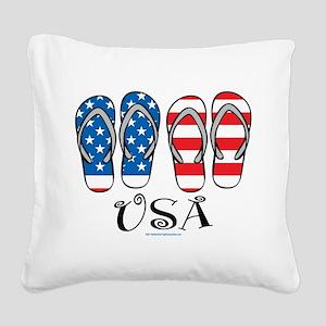 USA-Flip-Flops Square Canvas Pillow