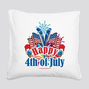 Happy-4th-of-July Square Canvas Pillow
