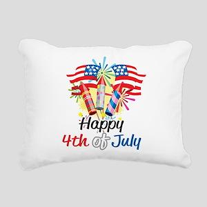 Happy-4th-Fireworks Rectangular Canvas Pillow