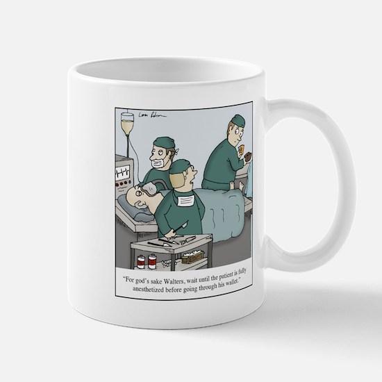 Surgeon going through wallet Mugs
