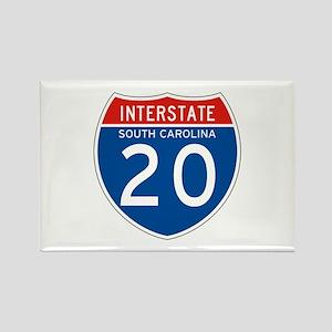 Interstate 20 - SC Rectangle Magnet