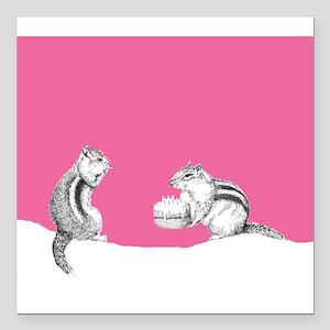 "Pink chipmunks Square Car Magnet 3"" x 3"""