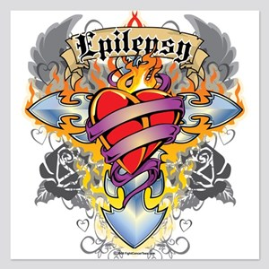 Epilepsy-Cross--Heart 5.25 x 5.25 Flat Cards