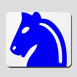 Blue Knight Chess Piece Mousepad