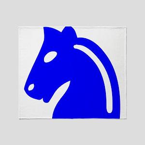 Blue Knight Chess Piece Throw Blanket