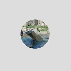 Polar bear in water Mini Button