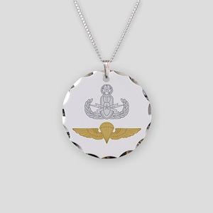 Master EOD Parachutist Necklace Circle Charm