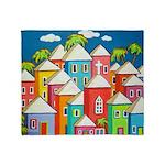 Little Village Tropical Art Throw Blanket