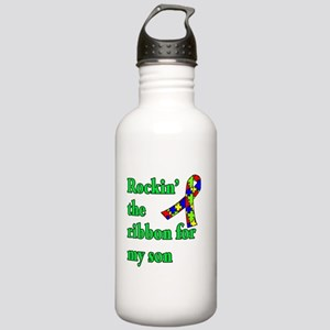 Autism Ribbon for Son Stainless Water Bottle 1.0L