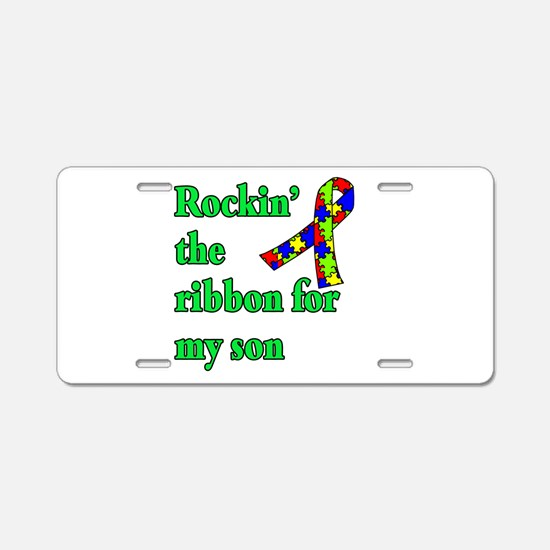Autism Ribbon for Son Aluminum License Plate