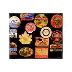 Vintage Travel Sticker Black Throw Blanket