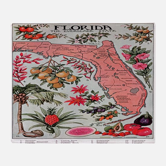 Vintage Florida Fruit Flower Map Throw Blanket