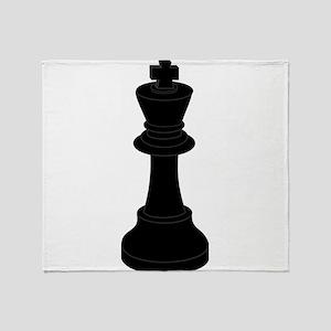 Black King Chess Piece Throw Blanket