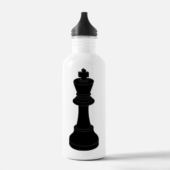Black King Chess Piece Water Bottle