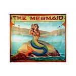 Vintage Mermaid Carnival Poster Throw Blanket
