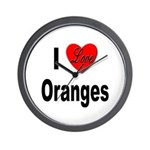 I Love Oranges Wall Clock
