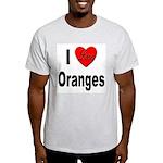 I Love Oranges (Front) Ash Grey T-Shirt