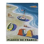 Vintage French Beach Travel Poster Throw Blanket