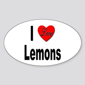 I Love Lemons Oval Sticker