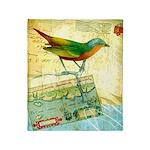 Vintage Tropical Bird Map Throw Blanket