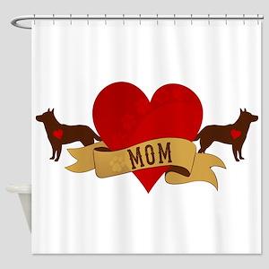 Cattle Dog Mom Shower Curtain