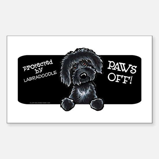 Paws Off Black Labradoodle Sticker (Rectangle)