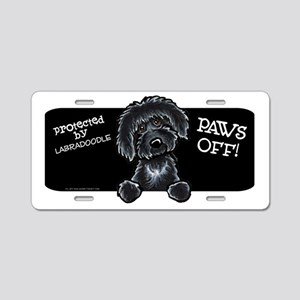 Paws Off Black Labradoodle Aluminum License Plate