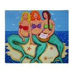 Mermaid Merbabes Seashore Beach Throw Blanket